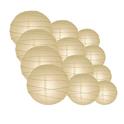 Quasimoon IRR-NBL-CP12 12pcs Pack (12/10/8 Inch) Paper Lanterns Crisscross Ribbing, Navy Blue, 12 Piece Set