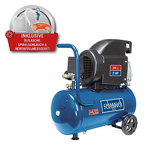 SCHEPPACH SET HC26 Kompressor | 5m Spiralschlauch | digitales Reifenfüllgerät | 24 Liter | 8 bar