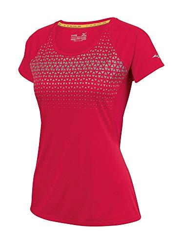 Mizuno Running Women's Phoenix Printed Tee, Medium, Chinese Red/Light Grey