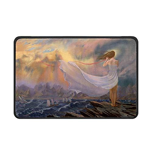 Felpudo de interior para mujer con olas de mar, antideslizante, absorbente, resistente a la suciedad, para entrada de entrada, puerta trasera, 61 x 40 cm