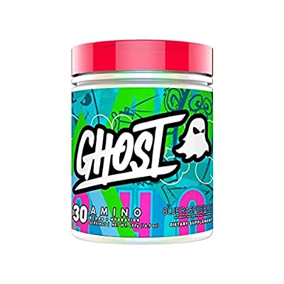 GHOST AMINO: Blue Raspberry (40 Serv) Amino Acids - Vegan–Friendly, 10G Total Essential Amino Acids 5.5G EAAs and 4.5G BCAAs (4:1:1), Added Hydration and Astragin® for Absorption