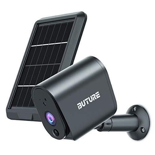 BuTure Camara Vigilancia WiFi Exterior con Panel Solar, Batería 1080P Cámara inalámbrica, Visión Nocturna Infrarroja, Detección Movimiento PIR, Audio bidireccional, IP65 a Prueba de Agua