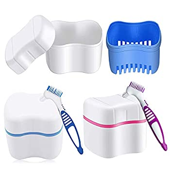 2 Pcs Denture Bath Case with Denture Cleaner Brush Denture Toothbrush and Strainer Basket for Travel Cleaning Overnight Soaking Complete Cleaning Care Home Use  Blue Pink
