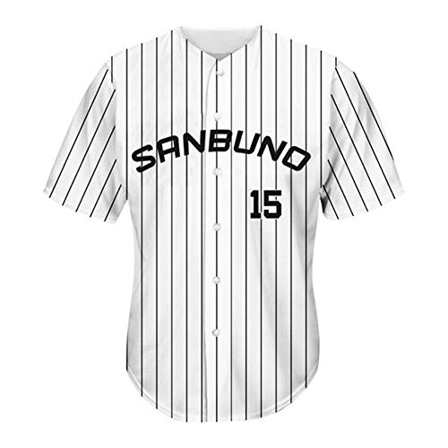 KGDC Magic # 15 Sanbuno Herren Baseball Trikot-Baseball Uniform Baseball Kurzarm Spiel Team Uniform Button Cardigan Sweatshirt Weiße Streifen XXS-3XL-XXL
