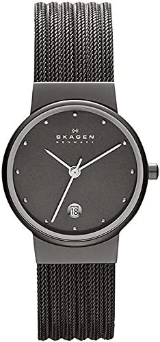 Skagen Women's Ancher Quartz Analog Stainless Steel and Mesh Watch, Color: Grey (Model: 355SMM1)