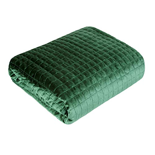 Eurofirany Bedsprei Velvet fluweel sprei gewatteerde deken sprei quilt elegant edel glamour slaapkamer woonkamer logeerkamer lounge, donkergroen, 220X240cm