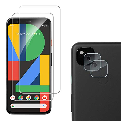 Olycism Compatible for Google Pixel 4a Camera Protector (2 Pack) and Screen Protector (2 Pack) 2.5D High Definition Anti Scratch Explosion-proof High-definition Picture Quality 3D Full Coverage