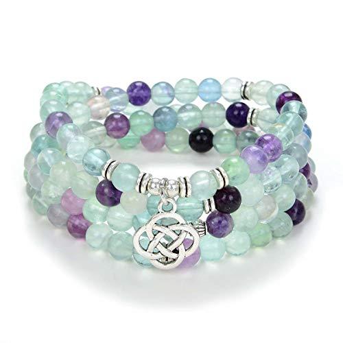 oasymala 108 Mala Meditation Beads Yoga Bracelet or Necklace with Celtic Knot Charm (Green Fluorite)
