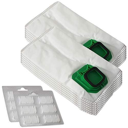 Set di 12 sacchetti per aspirapolvere in microfibra + 12 profumi adatti per Folletto Vorwerk Kobol 140, 150, VK 140, VK 150, VK140, VK150, FP140, FP150, con chiusura igienica - in tessuto