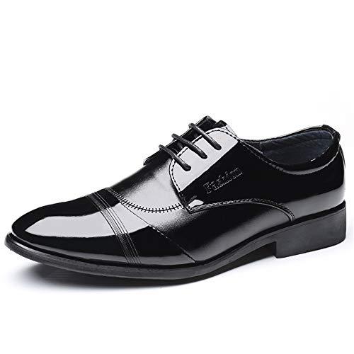 Formaat, plat, ademende mode comfortabele Oxford schoenen voor mannen formele schoenen veters stijl PU-leer eenvoudige persoonlijkheid naaien lakleder Oxford Shoes for Men