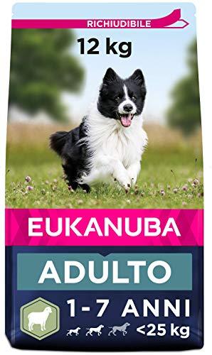 Eukanuba Adult - Alimento Completo per Cani Adulti di Taglia Piccola e Media (1-7 Anni), Crocchette con Agnello e Riso - 12 Kg