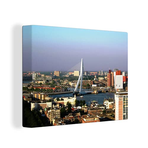Leinwandbild - Luftaufnahme der Erasmusbrücke in Rotterdam - 40x30 cm