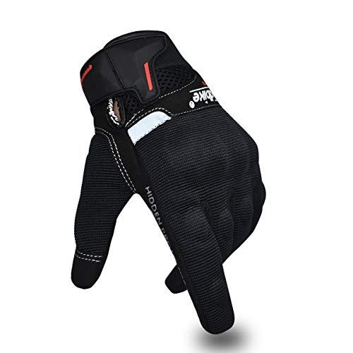 Guantes de Motocicleta de Verano para Hombres y Mujeres, Guantes de conducción de Motocicleta con Pantalla táctil, Guantes de Carreras para Deportes de Motor (Negro, M)
