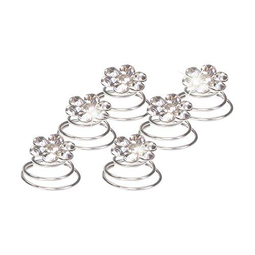 Autiga Haar Curlies Blumen Kristall Strass Haarspiralen Haarcurlies Hochzeit Braut Haarschmuck versilbert transparent 6er Set