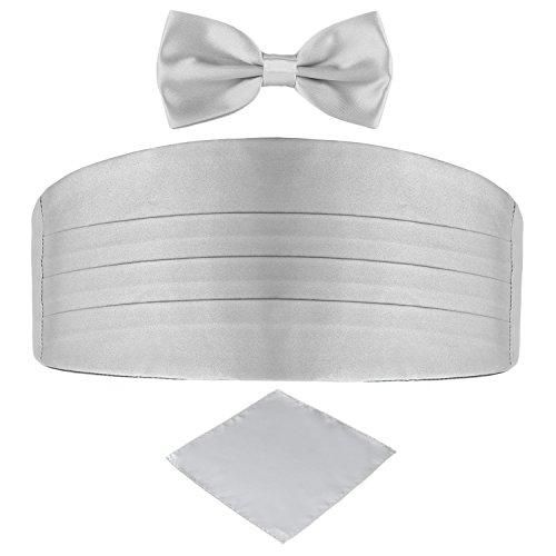 DonDon 3er Set Herren Kummerbund Fliege Einstecktuch farblich abgestimmt glänzend für feierliche Anlässe - Silber-grau