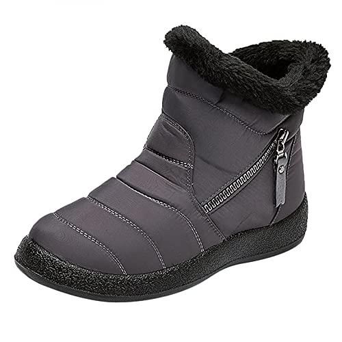 RTPR Botas planas de invierno para mujer, forradas, impermeables, antideslizantes, ligeras, cómodas, cortas, para caminar, gris, 42 EU