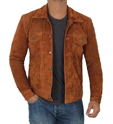 Decrum Brown Leather Jacket for Men - Erect Collar Jacket for Men   Logn, XXXL