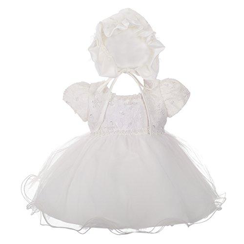 Lito Angels Baby Meisjes Christening Jurk Doop met Bonnet Bruiloft Meisjes Jurk Kralen Kant Ivoor