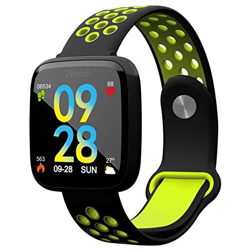 Fashion F15 - Reloj inteligente con Bluetooth, resistente al agua, para mujer, con diseño de corazón, monitor de actividad, reloj inteligente para Android iOS (negro y verde)