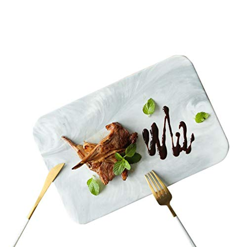 Gebäck Ablageschale Volltonfarbe Platte, KTV Platte Marmor Strukturierte Platte Bar Plate Outdoor Teller Grillplatte Einfache Platte Getrocknete Früchte Verkostung Platte (Size : 26 * 15.7 * 1CM)