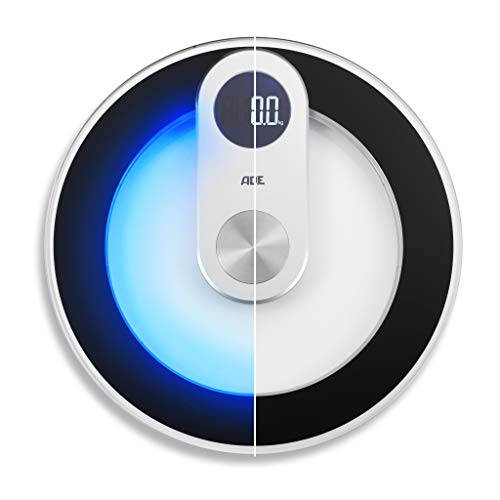 ADE BE1700 Digitale Personen-Waage Iris, LED-Beleuchtung, Personenwaage rund aus Sicherheits-Glas, elektronische Körperwaage digital Gewichtswaage Badezimmerwaage LED-Display