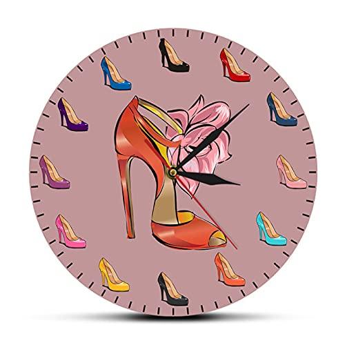 hufeng Reloj de Pared Zapatos de Mujer Reloj de Pared Femenino Zapatos de tacón Alto Tienda de Mareas Decoración de Arte de Moda Reloj de Pared de habitación de niña Regalo de Zapatero
