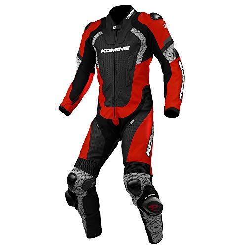 コミネ KOMINE バイク レーシング レザー スーツ プロテクター 革 本革 つなぎ レース Red/Black M S-52 02-052