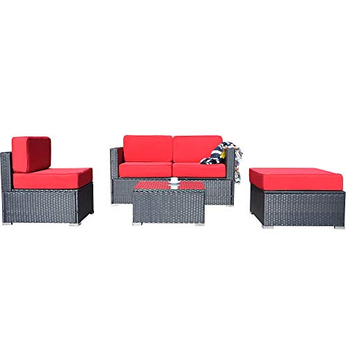 MCombo Patio Furniture Sectional Set Outdoor Wicker Sofa Lawn Garden Rattan Leisure Chair with Cushions and Tea Table 6082-5PC (Red)