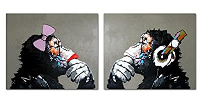 Muzagroo Art Abstract Gorilla Oil Paintings Original Art 100% Handpainted Pictures for Living Room by EPHOTOS