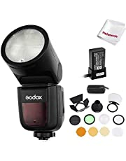 Godox V1-S Flash con Cabeza Redonda para Sony con AK-R1 Kit, TTL 1/8000 HSS, Batería de Litio 2600mAh, 1.5 s Tiempo de Reciclaje, 480 Flashes a Plena Potencia