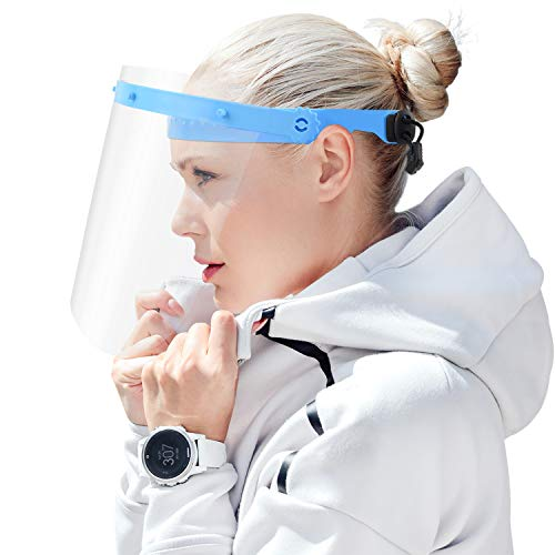 Pantalla de protección Facial Pantalla Completa con Tira elástica Ajustable Anti Salpicaduras y Cubierta Protectora de película Transparente de Saliva (10 Piezas Viseras + 2 Piezas Marco)