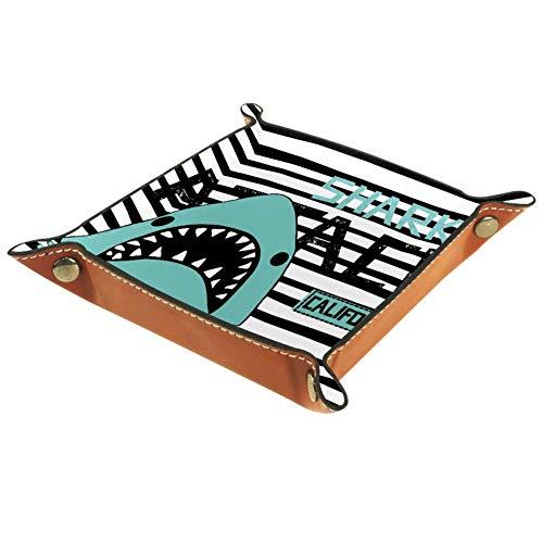 Eslifey Bandeja organizadora de almacenamiento con diseño de rayas de tiburón California Valet Tray para llaves, mesita de noche, bolsa de piel de microfibra, 16 x 16 cm