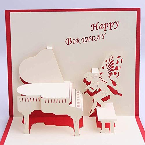 BC Worldwide Ltd hecho a mano tarjeta emergente 3D Feliz cumpleaños piano hada mariposa alas de ángel fan de música mejor amigo compañero papercraft corte por láser origami kirigami
