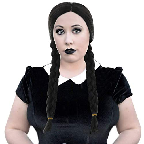 Long Black Gothic Braided Wig-Synthetic Natural Looking Party Costume...