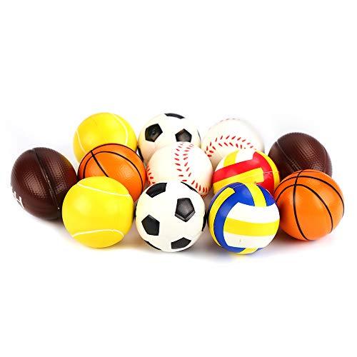 VEYLIN 12 Stück weiche Schaumstoff-Sportbälle, Mini-Schaumstoff-Bälle, Fußball, Basketball, Tennis, Baseball, Rugby und Volleyball für Kinder
