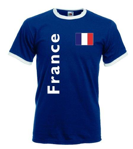 Fruit of the Loom France/Frankreich Herren T-Shirt Retro Trikot|S