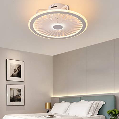 Luz de techo con ventilador LED moderna luz de techo ultrafina con luz de ventilador eléctrica regulable con control remoto luz del ventilador de techo del dormitorio luz del ventilador de la,Blanco