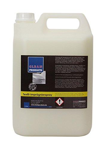 CLEANPRODUCTS Imprägniermittel 5 Liter - Wirkungsvolle Imprägnierung für Cabrio-Verdeck, Softtop, Textil. Einsatz als Imprägnierspray