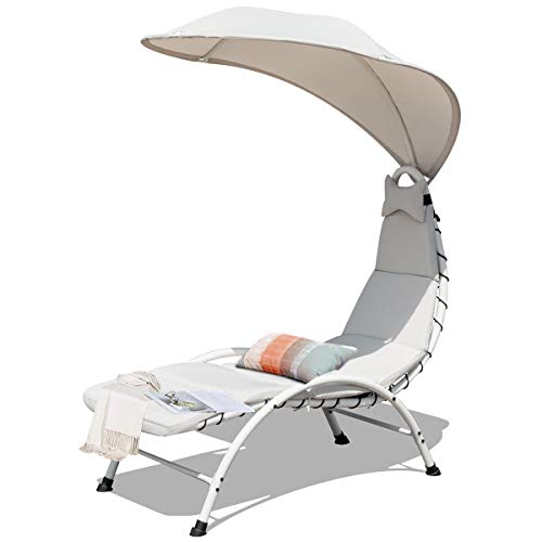 Giantex chaise lounger chair, arc stand porch swing hammock chair w/canopy, removable headrest, patio chaise with cushion, recliner chair for garden backyard poolside (beige)