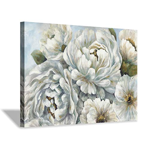 Peony Flowers Canvas Wall Art: Blossom White Floral Painting Picture for Living Rooms Office (36''X24'')