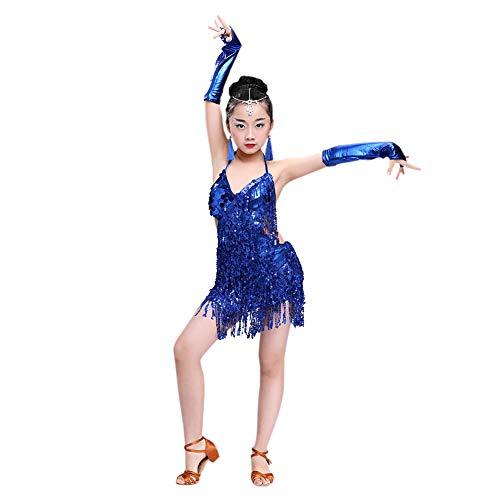 Meijunter Falda de baile latino - Honda Borla Lentejuela Vestido de baile Salsa Samba Rumba Tango Jazz Outfits Carnaval Rendimiento Traje