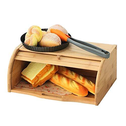 40X27X16cm Naturel En Bambou Support À Pain Conteneur De Stockage Des Aliments Cuisine Rouleau Top Pain Boîte De Rangement Cuisines Fournitures