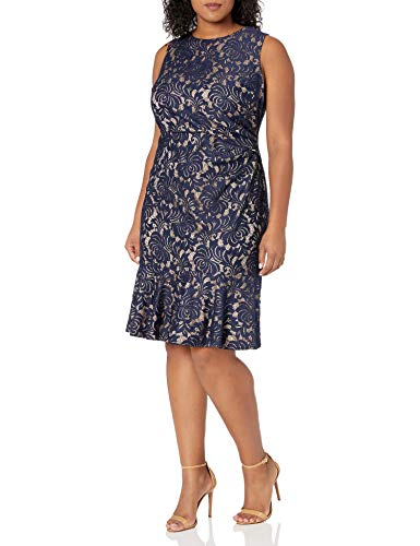Eliza J Women's Plus Size Sleeveless Dress Peplum Hem, Navy, 14W