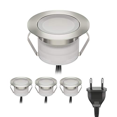 ledscom.de LED lámpara empotrable en el Suelo BIMI para el Exterior Blanca cálida, Cada 50lm, IP67, 45mm Ø Juego de 4