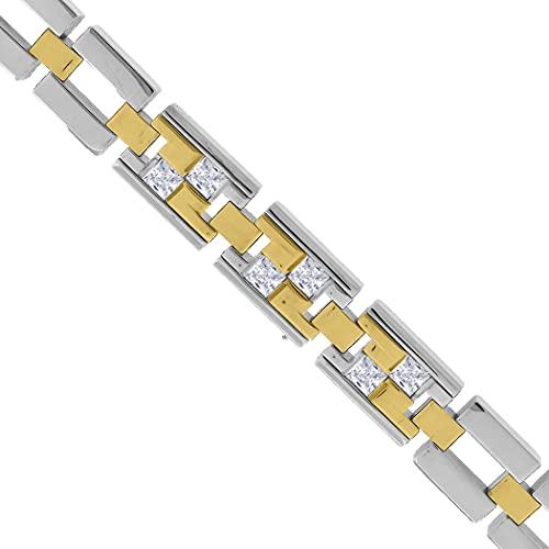 Pulsera de acero inoxidable de tono amarillo, unisex, circonita cúbica, con diamantes de imitación, para mujer