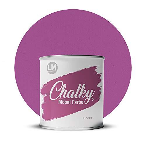 LM-Kreativ Chalky Möbelfarbe deckend 1 Liter / 1,35 kg (Beere), matt finish In- & Outdoor Kreide-Farbe für Shabby-Chic, Vintage, Landhaus Stil
