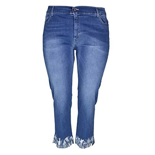 KEYRA - Pantalones vaqueros de talla grande para mujer, dobladillo cortado con adornos turquesa 50 ES