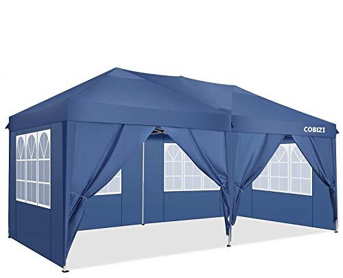 COBIZI Partyzelt Pavillon 3x6m Festzelt Faltpavillon Wasserdicht für Garten Terrasse Feier Party Gartenzelt mit 4 Seitenteilen und 2 Eingängen, 12 Heringe & 4 Seile & 1 Tragetasche (3x6 M, Blau)