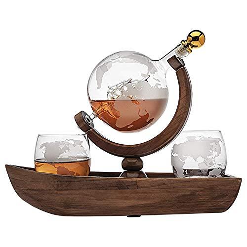 Rabbfay Whisky Licorera Barco Globo Colocar, Mano Soplo Vino Licorera con 2 Mundo Whisky Vasos - por Espíritu, Escocés, Borbón, Vodka