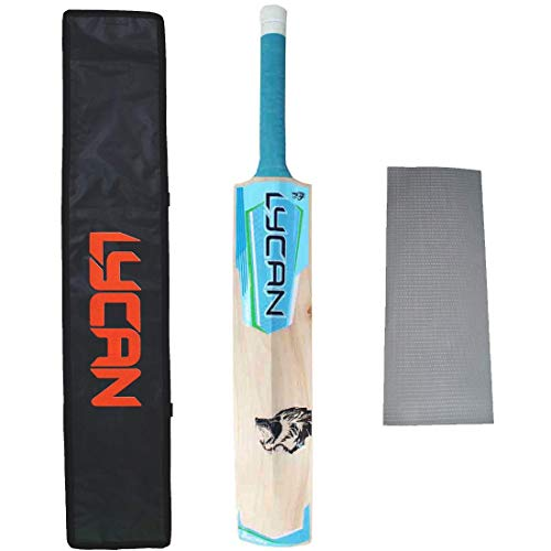 Lycan Ghost Full Size Kashmir Willow Cricket Bat For Leather Ball Free Bat Cover And Anti Scuff Sheet, Wood, Multicolour